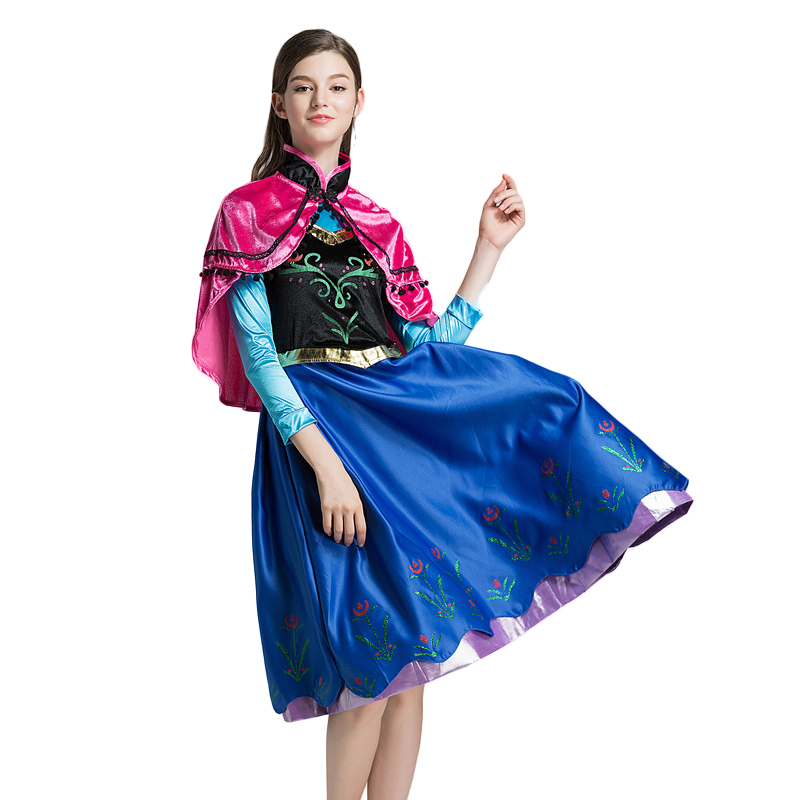 Anime Princess Anna Elsa Adult Women Dress With Cape Cosplay Costume Halloween Party Dress