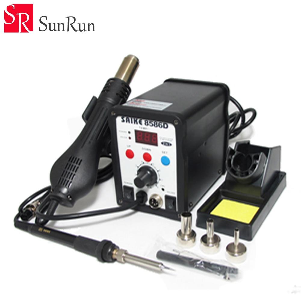 цена на Genuine Digital Display 2 in 1 220V SAIKE 8586D hot air gun soldering station+solder Iron
