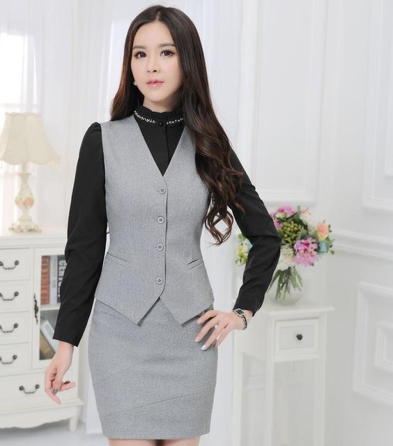 Novidade Cinza Das Mulheres de Negócio Trabalho Usam Ternos Blazers E Saia 2015 Primavera Outono Colete + Saia Para Senhoras Uniformes Escritório Outfits