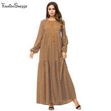 2018 Plus size 4XL muslim dresses Fashion Women Long Sleeve Polka Dot Print  Casual Loose abaya Party Long turkish dress 96de0f6a79bf