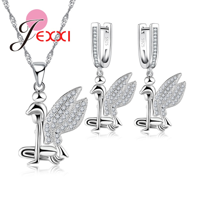 2019 Lovely Style Angel Wings Necklace 925 Sterling Silver color Necklaces Earring  Clear Austrian Crystal Jewelry Sets2019 Lovely Style Angel Wings Necklace 925 Sterling Silver color Necklaces Earring  Clear Austrian Crystal Jewelry Sets