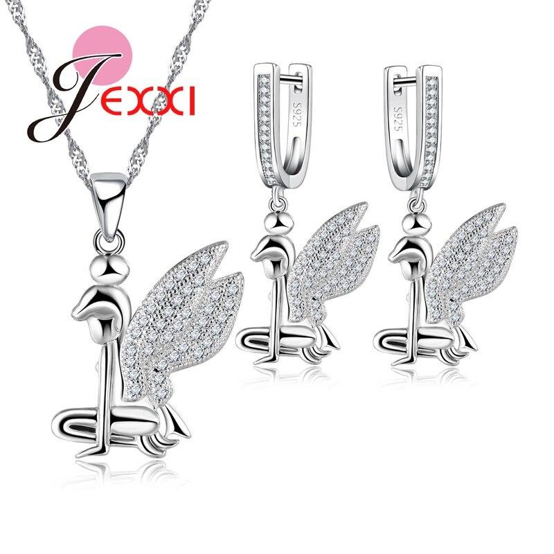 2019 Schöne Art Angel Wings Halskette 925 Sterling Silber Farbe Halsketten Ohrring Klar Österreichischen Kristall Schmuck Sets