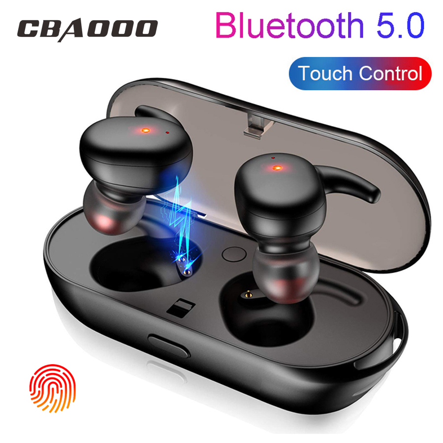 CBAOOO TWS Bluetooth Earphone V5.0 Wireless earphones Touch control Earbuds 3D Surround Sound & Charging bin for all smartphone