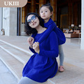Family fitted dress mother and daughter paternity clothes girls Long sleeve skirt bud shaped waist classic blue princess dresses
