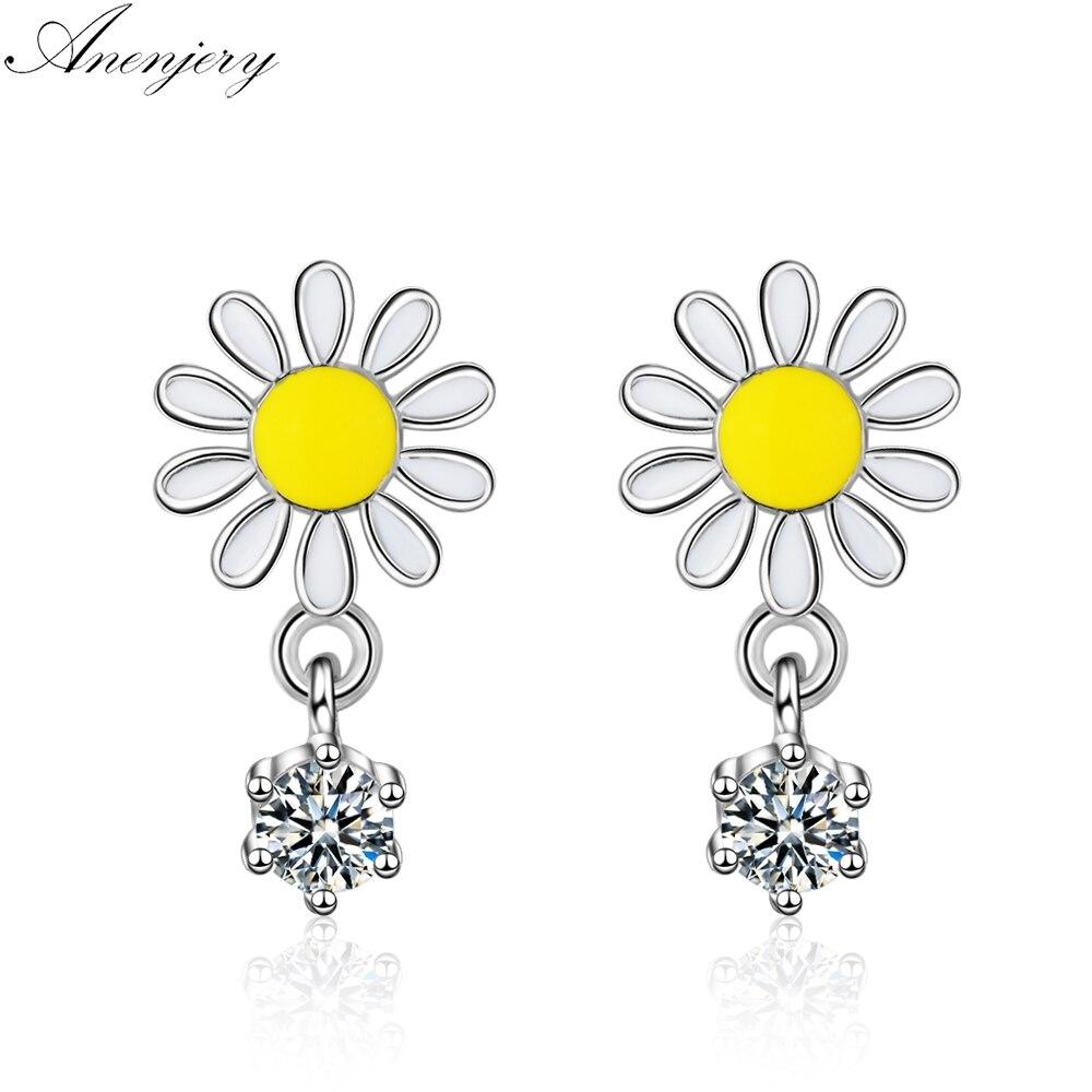 Anenjery 925 Sterling Silver Daisy Earrings For Women Spring Jewelry Epoxy Sun Flower Zircon Tassel Earrings Oorbellen S-E759