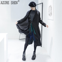AZURE SHEN 2018 Spring New Pattern Waist Tie Vent Long Sleeve Chiffon Personality Collar Loose