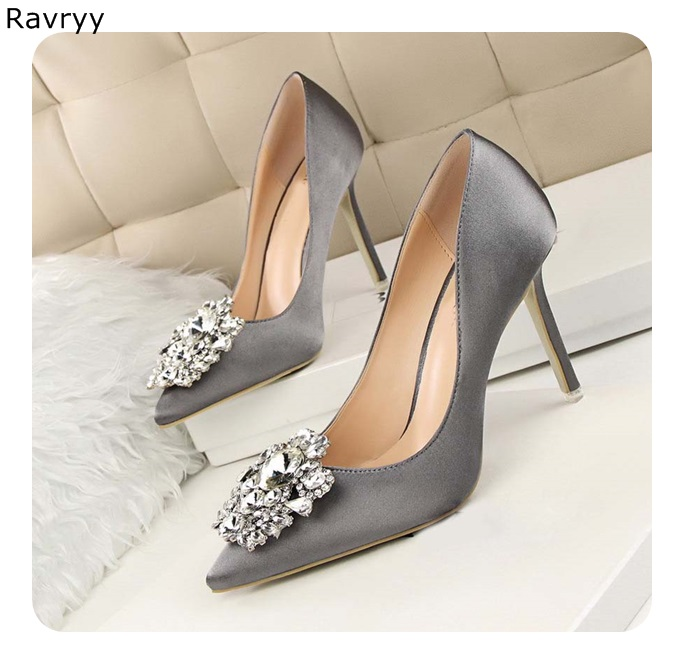 Grey Woman high heels bling bling crystal sexy pumps pointed toe female single shoe thin heel slip-on wedding party dress shoes
