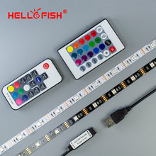 5V 5050 RGB LED strip 5 meters USB cable Controller LED tape RF 17key IR 24 key remote controller