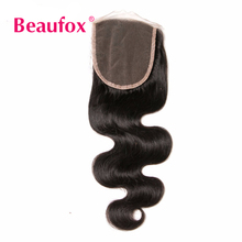 Beaufox Human Hair Lace Closure Peruvian Body Wave 4×4 inch Free Part Closure Non-remy Hair Bundles Can Be Dyed
