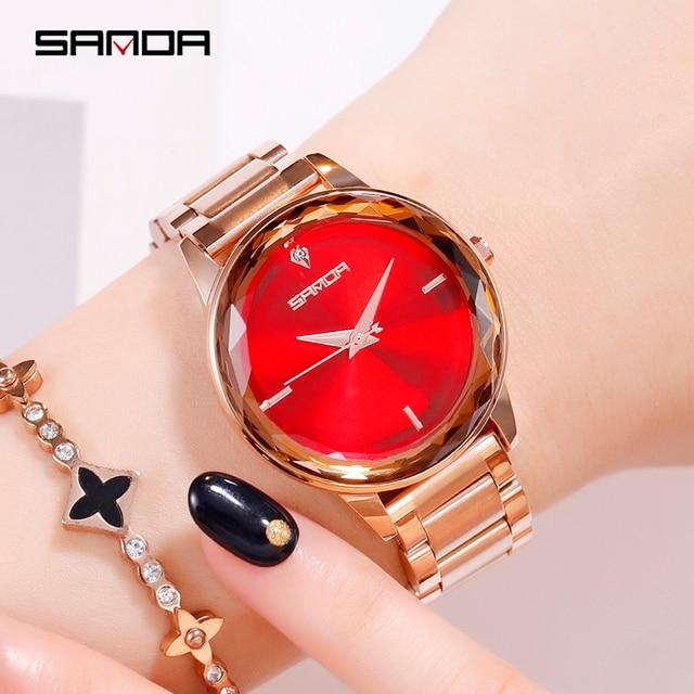 Sanda אופנה יוקרה נשים קוורץ שעונים צבע יהלומי שעוני יד מקרית שעון גבירותיי שעונים reloj mujer relogio feminino
