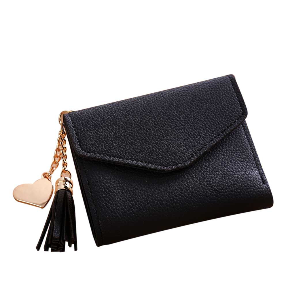 2017 High Grade Women Fashion Simple Short Wallet Tassel Purse Card Holders Female Leath ...