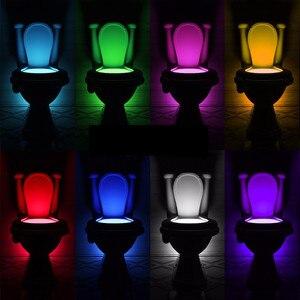 Night Light Sensor Toilet Lamp 8 Colors Backlight Toilet Bowl LED Luminaria Lamp Nightlight PIR Smart Night Light Lamp for Child