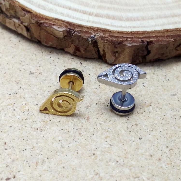 Fashion Men Silver Gold Black Naruto Anime Earrings Titanium Steel Frosting Small Comic Naruto Stud Earrings Brincos Jewelry