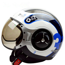 Free shipping Genuine ZEUS ZS-218 motorcycle helmet half helmet half helmet retro styling MOMO / white and blue