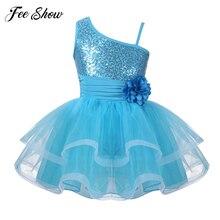 Детская одежда для танцоров для выступлений, платье с одним плечом и блестками, балетные и гимнастические танцевальная пачка, платье