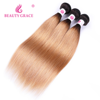 Peruvian Ombre Hair Bundles 2 Tone Honey Blonde Straight Hair Weave Bundles Beauty Grace 3 Bundles Dark Root Human Hair Bundles