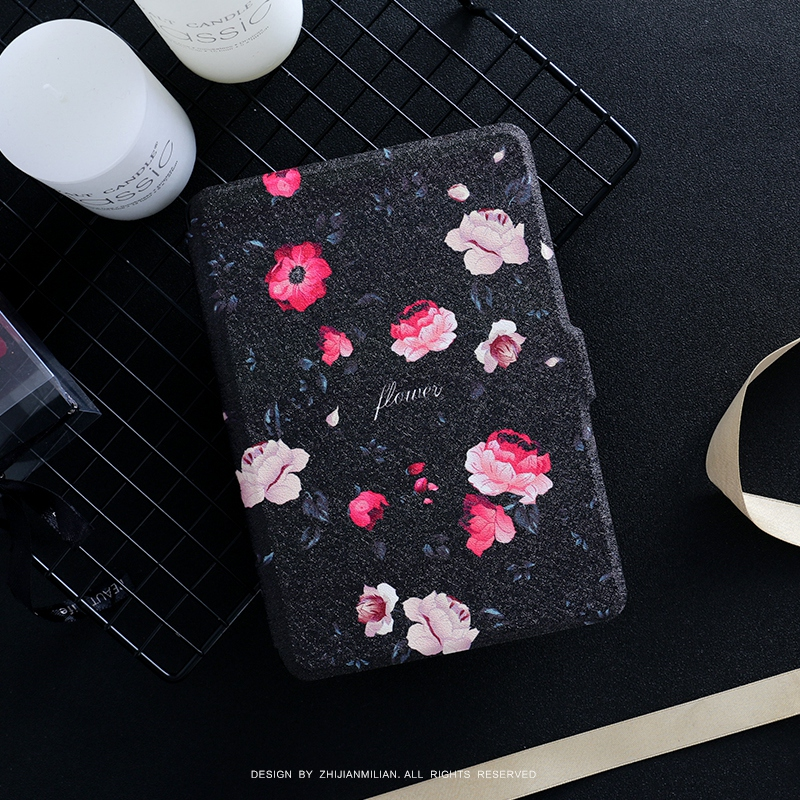 Black Flower PU Leather Case Flip Cover for Amazon Kindle Paperwhite 1 2 3 449 558 Voyag Case 6 Ebook Ereader Tablet case upaitou flip case for amazon kindle paperwhite 1 2 3 cover for kindle 958 6th generation tablet case leather smart coque