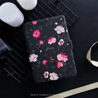 Black Flower PU Leather Case Flip Cover For Amazon Kindle Paperwhite 1 2 3 449 558