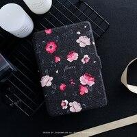 Noir Fleur PU Flip Housse En Cuir pour Amazon Kindle Paperwhite 1 2 3 449 558 Voyag Cas 6