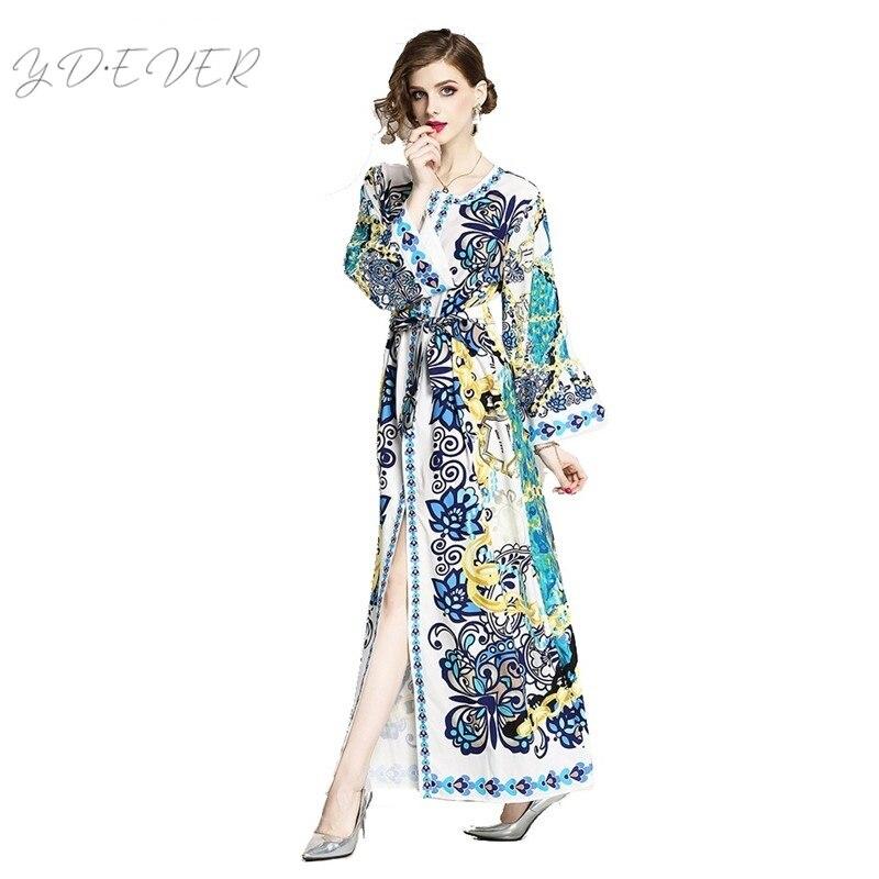 vintage print long maxi dress long sleeve split belt o neck european high quality vintage runway dresses mexican boho N119T