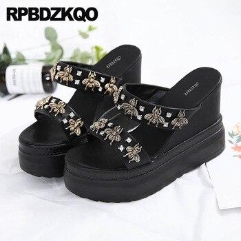 Holiday Shoes Diamond Fetish Bee Wedge Sandals High Heels Platform Extreme Sexy Rhinestone Strap Crystal Women Black Pumps