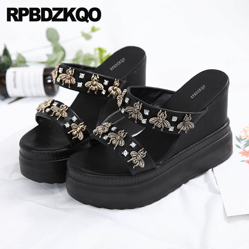 Holiday <font><b>Shoes</b></font> Diamond <font><b>Fetish</b></font> Bee Wedge Sandals <font><b>High</b></font> <font><b>Heels</b></font> Platform <font><b>Extreme</b></font> <font><b>Sexy</b></font> Rhinestone Strap Crystal Women Black Pumps image
