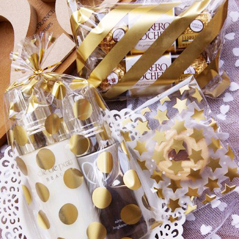 50pcs 8*10+3cm White Golden Star Adhesive Cookies Gift Bag For DIY Candy Food Box Packaging Pouches Jewelry Display Organizer