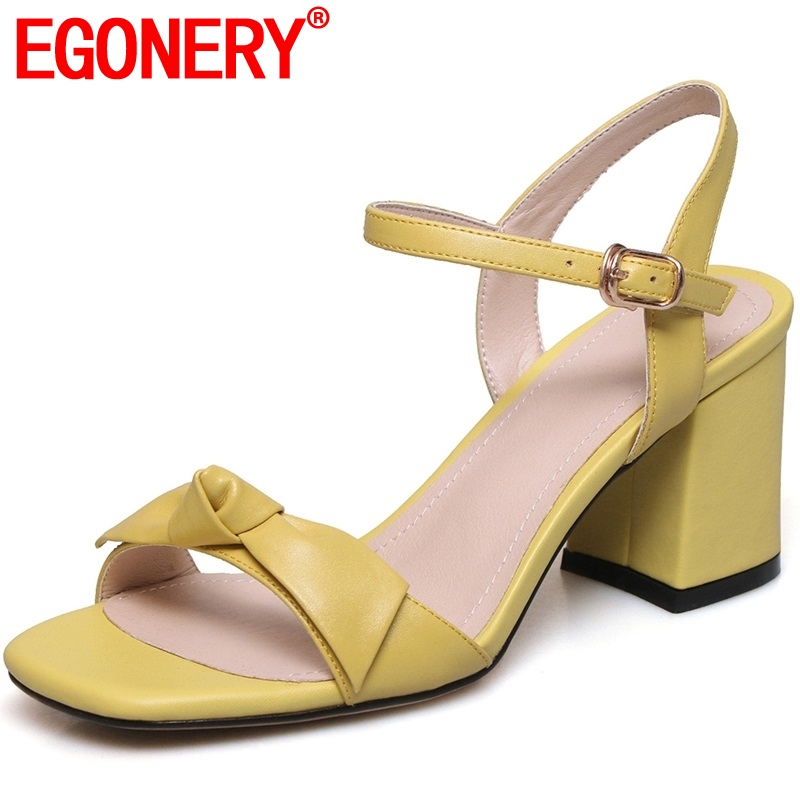 EGONERY woman Genuine Leather wedding sandals summer fashion girl Yellow white super comfortable soft high heels