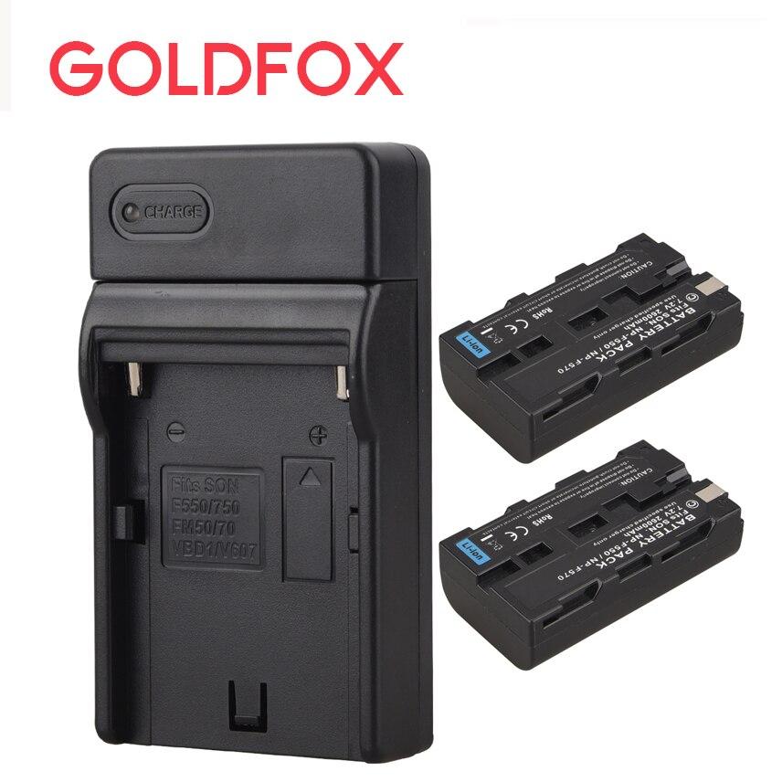 2 pcs x NP-F550/NP-F570 NP F550 NP F570 Décodage Complet Batterie + Mur Chargeur pour Sony NPF550 NPF570 appareil Photo numérique Batterie