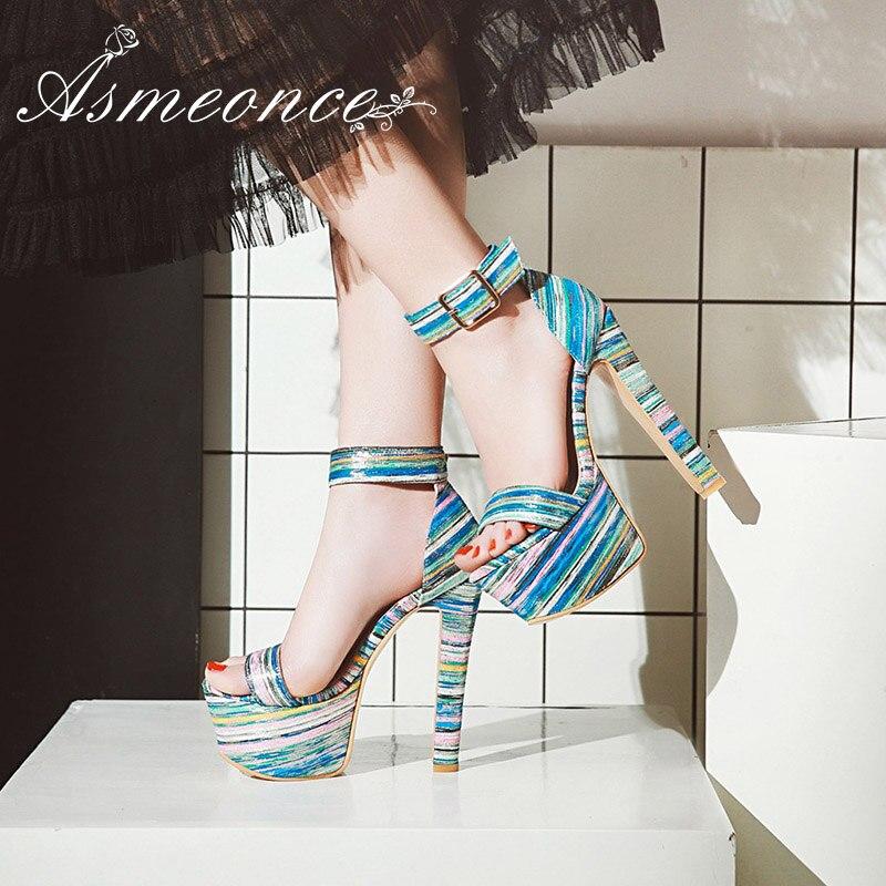 Hueco Toe Más Plataforma Zapatos Rayas Sexy Sandalias Tacones Boho Altos 34  Mujer Black Tamaño Super ... acca99c7b414