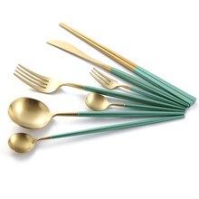 1lot/1piece Korean Golden Dinnerware Set Stainless Steel Knife Fork Set Tableware Metal Green Western Food Restaurant Cutleries