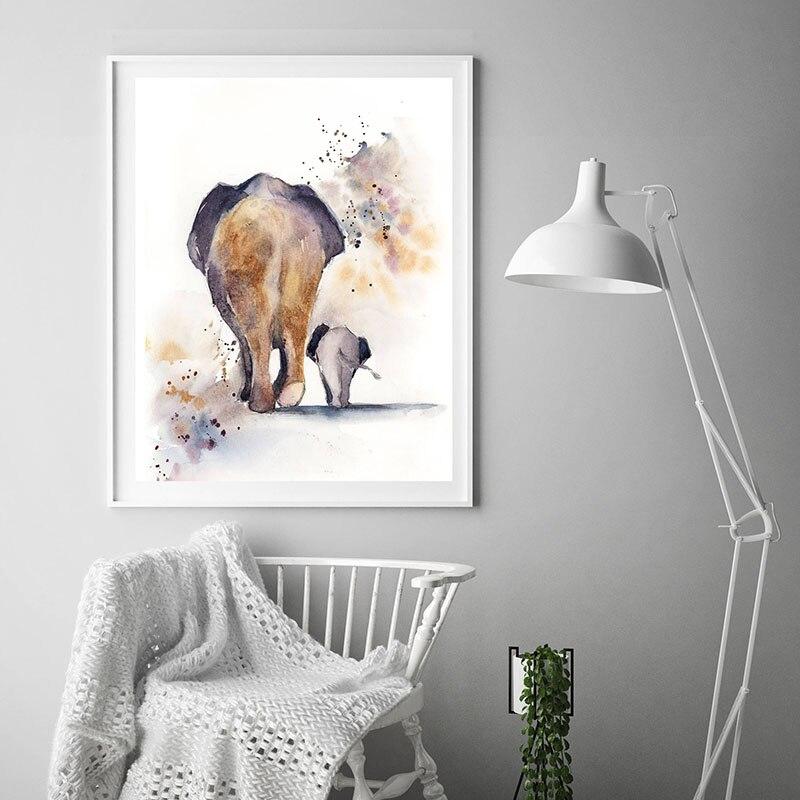 Aquarelle Impression Mère et Bébé Éléphant Toile Peinture Moderne Mur Art Imprimé Abstrait Salon Décor Ilustraction
