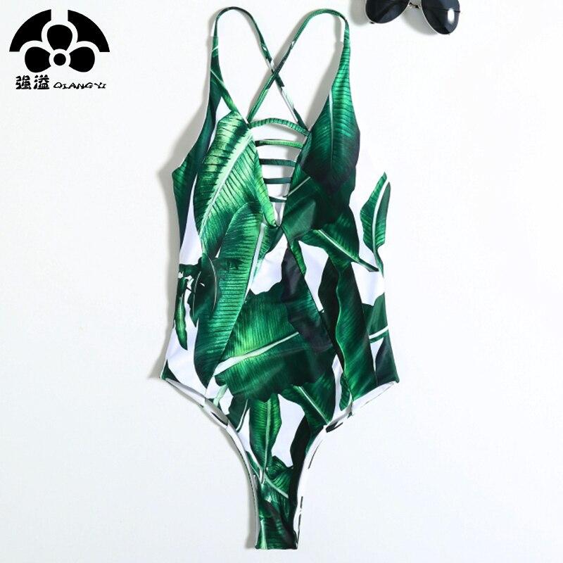2018 sommer Blatt Bikinis Aushöhlen Einem Stück Badeanzug Frauen Bademode Weiblichen Push-Up Bikini Badeanzug Cross Strap Strand Overall