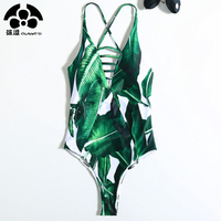 QIANG YI 2018 Summer Styles Push Up Hollow One Pieces Swimsuit Bathing Suit Cross Strap Swimwear