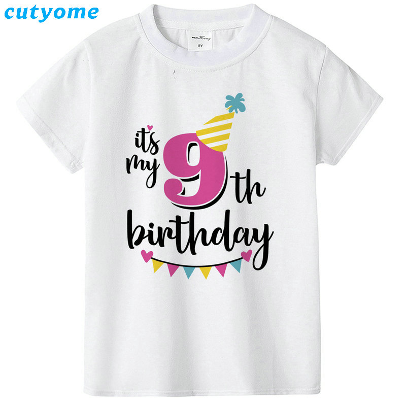 Summer Baby T Shirt Tops Children's Clothing Happy Birthday Girls Boys Short Sleeve Kids Clothes Tee Girls Boys' T-shirts Casual (16)