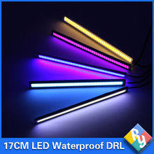 1Pcs 2016 update Ultra Bright LED Daytime Running lights DC 12V 17cm Waterproof Auto Car DRL COB Driving Fog lamp car styling