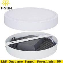 New Design LED Panel Light Surface Mounted 8W 4014 SMD Aluminum Plate LED Flat Lamp Round LED Ceiling Recessed Lamp AC85V-265V
