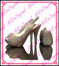 Aidocrystal designer glitter beaded slingback shoes and bag set