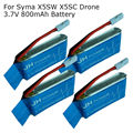 Free shipping! 4 Pcs 3.7V 800mAh Blue Paper Lipo Battery For Syma X5SW X5SC RC Drone Quadcopter