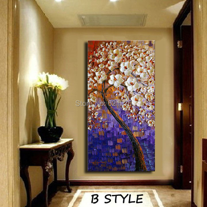 Hand Painted Living Room Home Decor Blue Purple White