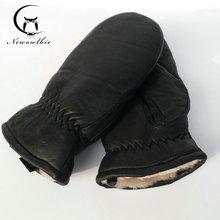 2020 mężczyźni rękawice z owczej skóry rękawiczki z prawdziwej skóry dla mężczyzn zima na zewnątrz ciepłe futro pogrubienie rękawice termiczne tanie tanio newowlbie Unisex Genuine Leather Dla dorosłych Stałe Nadgarstek Moda