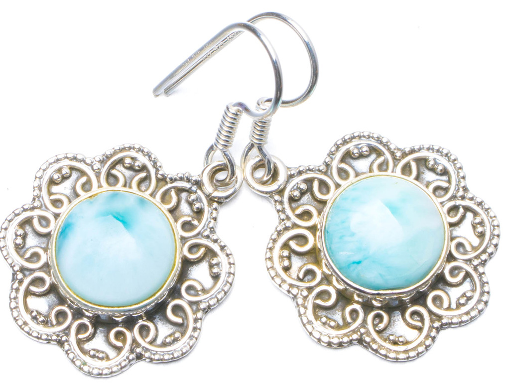 Natural Caribbean Larimar Handmade Unique 925 Sterling Silver Earrings 1.25 Y0678