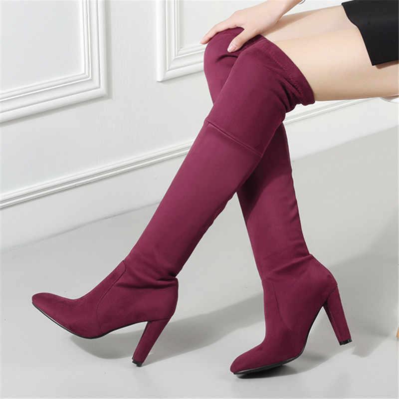 ENMAYER haut Faux daim femmes cuissardes Stretch mince mode Sexy sur le genou bottes femme chaussures talons hauts noir CR882