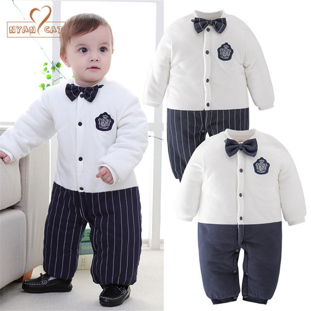 NYAN CAT Baby boy cotton winter outfit gentlemen striped solid bow tie  romper jumpsuit infant wedding party keep warm clothes. 1 order 2b0a4cdfe998