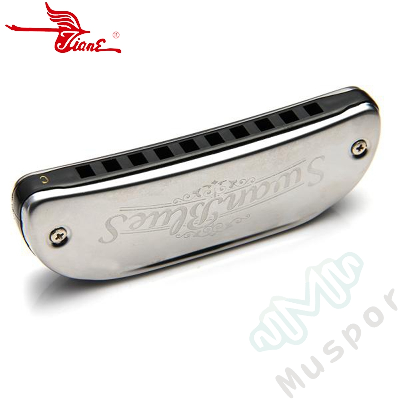 SWAN 10 Holes Diatonic Blues Harp Harmonica Key Of C 20 Tones Boat Shape