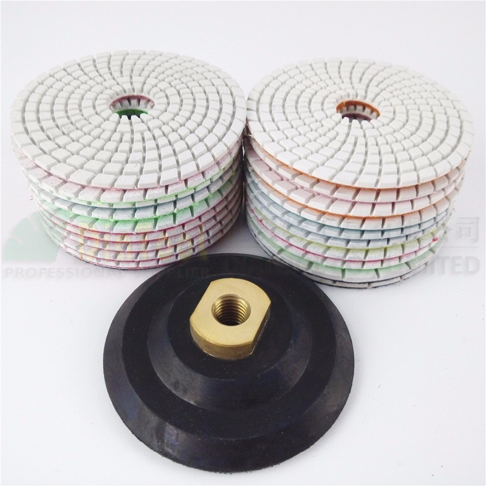 DIATOOL 20pcs Dia 100mm 4 Diamond Flexible Wet Polishing Pad For Stone And 1pcs Rubber Back