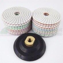 20pcs Diamond flexible Wet polishing pad for stone and 1pcs rubber back pad, Spiral type Dia 100mm/4