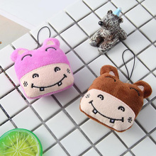 1PC 7.5CM Cute Mini Plush Smile Hippo Head Keychain Bag Pendant Lovely Stuffed Animals Children Toys Birthday Activities Gifts