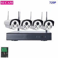 SUCAM 4CH Array HD Home WiFi Wireless Security Camera System DVR Kit 720P CCTV WIFI Outdoor Full HD NVR Surveillance Kit