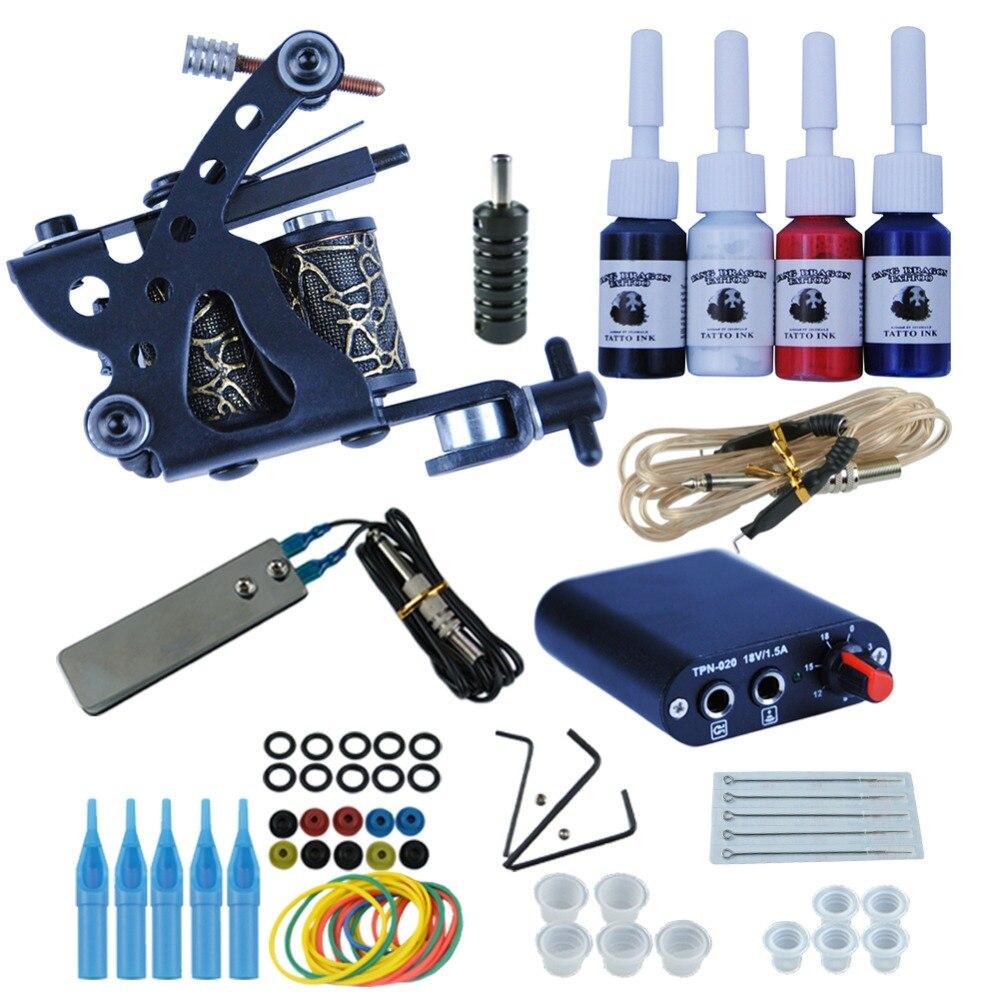 Starter Tattoo Kit 8 Wrap Spulen Tattoo Gun Maschinen 4 teile/satz Tinte Griffe Nadeln Tipps Netzteil Anfänger Tatu Tattoo liefert